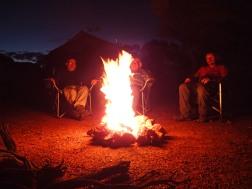 Campfire blazing