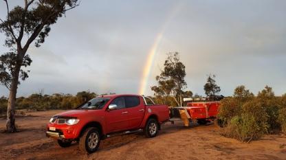 Richard's Trtton and camper at Blazed Tree Camp