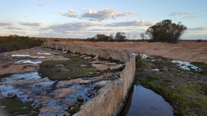 Rock walls made to trap the water